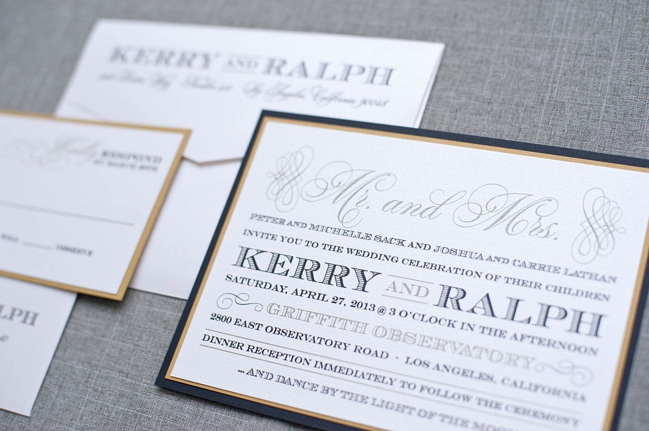 Flat wedding invitation black and gold formal kerry and ralph flat wedding invitation black and gold formal kerry and ralph 490 via monicamarmolfo Image collections
