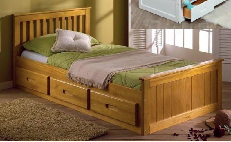 Ft Single Captain Cabin Storage Solid Wooden Bed Bedframe Waxed Pine Finish