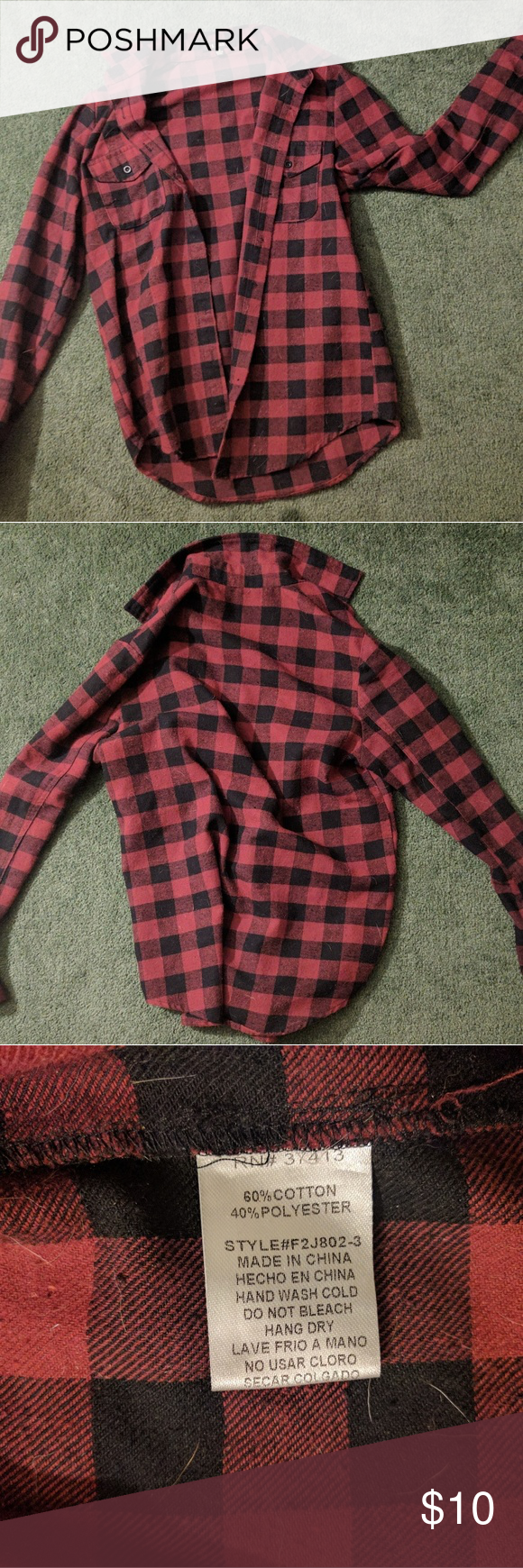 Flannel shirts for dogs  Red and black checkered flannel Red and black checkered flannel size