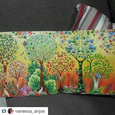 Floresta mega linda by  @vanessa_anjos with @repostapp  ・・・#desenhoscolorir  Mais um desenho concluído... #florestaencantada #enchantedforest  #johannabasford #jardimsecreto