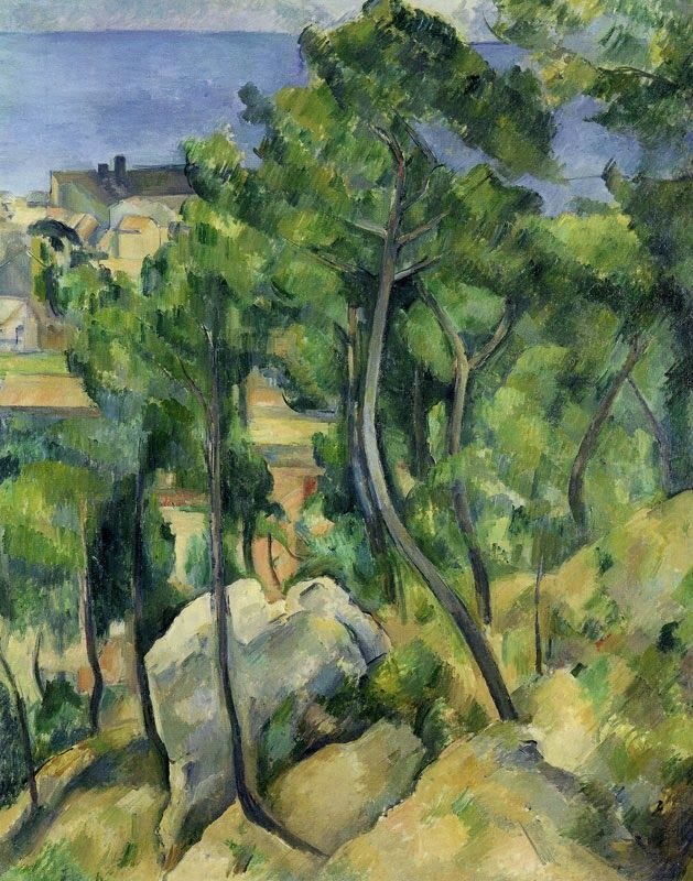 Paul Cézanne 1883-85 L'Estaque: Rocks, Pines and Sea oil on canvas 100 x 81 cm Staatliche Kunsthalle Karlsruhe