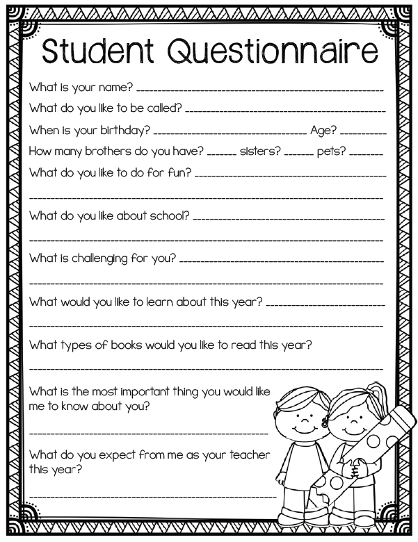 Student Questionnaire- Back to school printables for grades 3 and ...