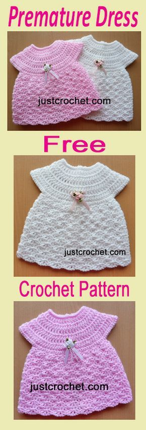 Free Baby Crochet Pattern For Preemie Dress Buttoned Down The Back