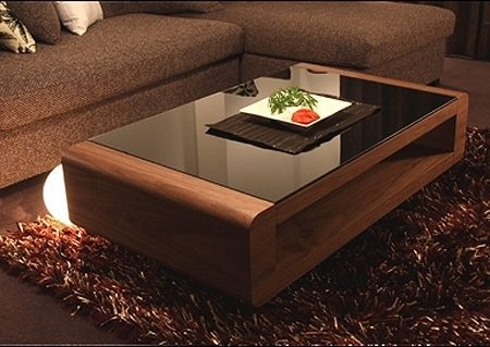 Table Basse Miami Noyer Verre Noir Table Basse Table Basse