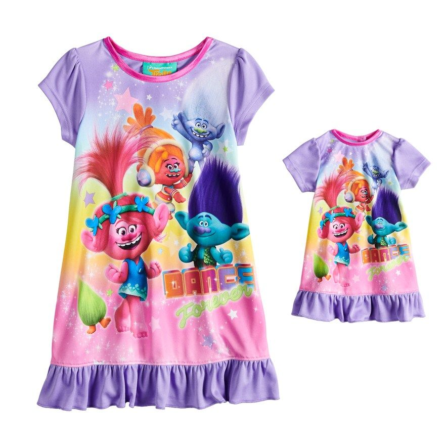 e3a4ce202c Toddler Girl DreamWorks Trolls Poppy & Branch Nightgown & Doll Nightgown,  Size: 2T, Multicolor