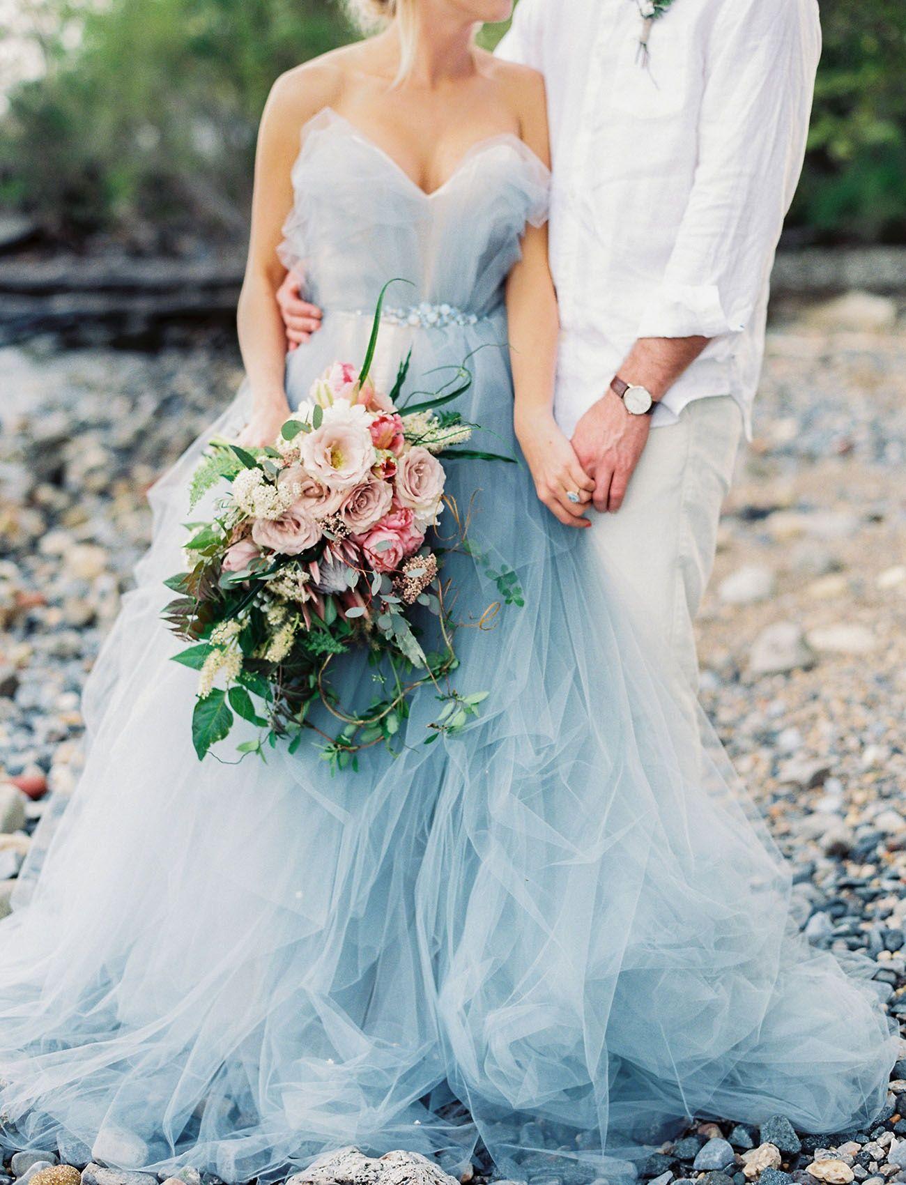 The latest wedding trend stunning serenity blue wedding dresses