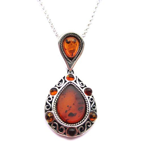 BALTIC AMBER AND STERLING SILVER 925 DESIGNER COGNAC FLOWER LEAF PENDANT NECKLACE 10 12 14 16 18 20 22 24 26 28 30 32 34 36 38 40 1mm ITALIAN SNAKE CHAIN