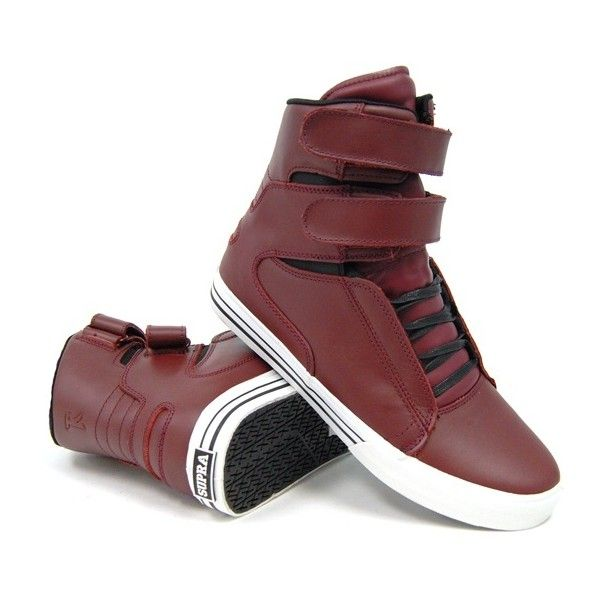 half off 67073 2ddbb Lamar Odom in Burgundy Leather Supra TK Society Sneakers UpscaleHype ❤  liked on Polyvore featuring shoes
