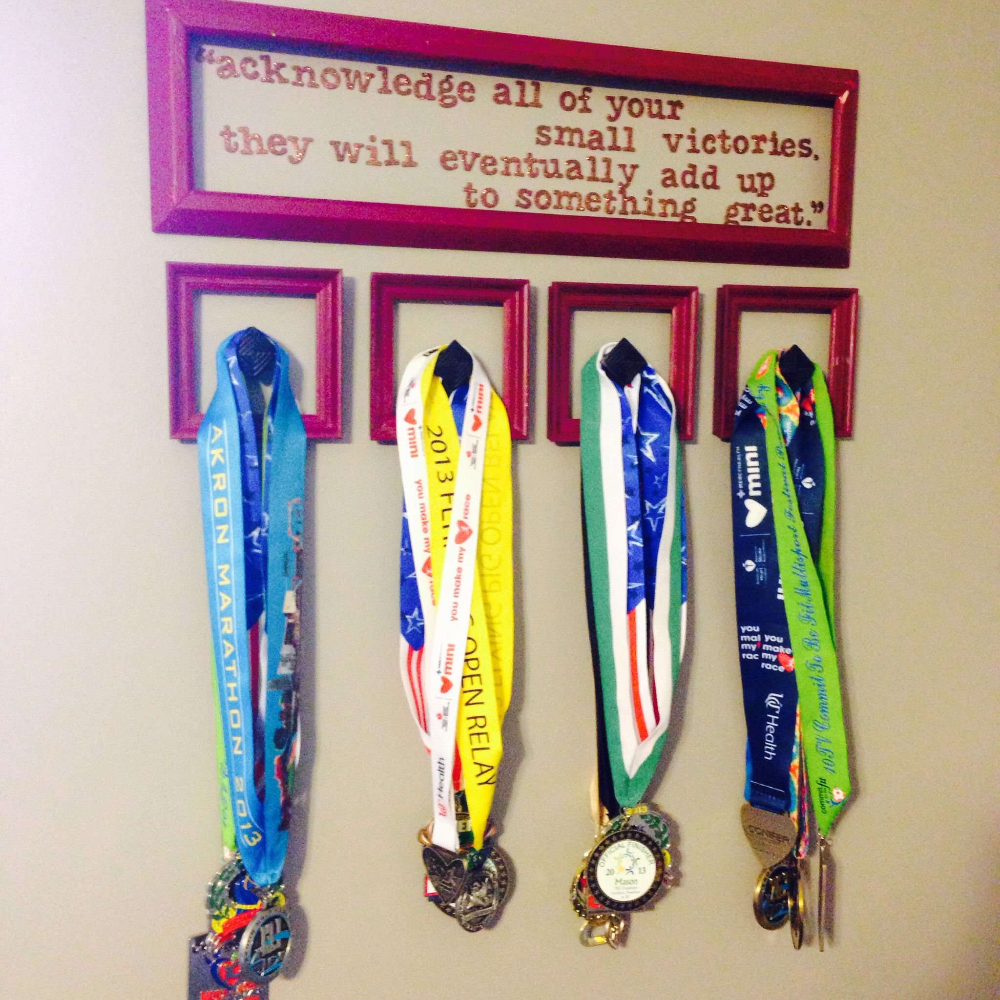 DIY medal hanger  Upcycled tacky frames knobs and scrapbooking sticker lettering