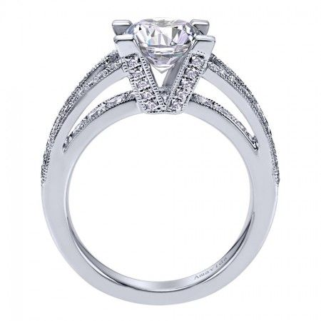 18K White Gold 3 Dimensional Engagement Ring Wedding Day
