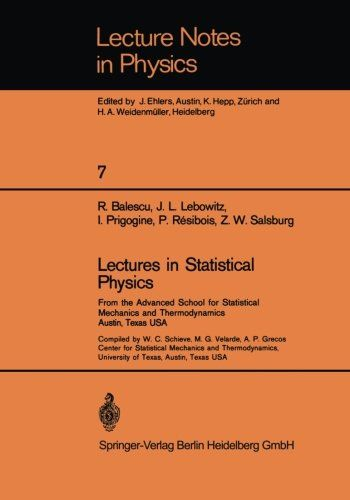 Download free Lectures in Statistical Physics: From the