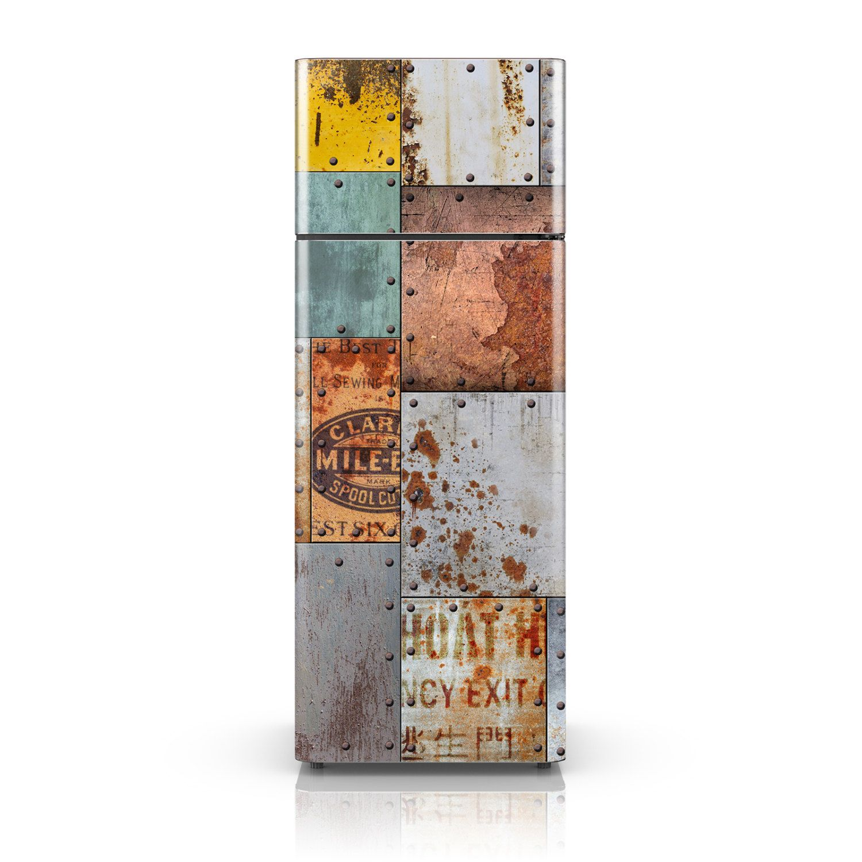 Self Adhesive Vinyl Fridge Decal - Vintage Rusty Steel Plate Sticker ...