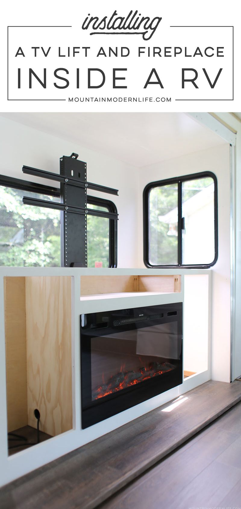 Installing A Tv Lift And Electric Fireplace Inside Our Rv