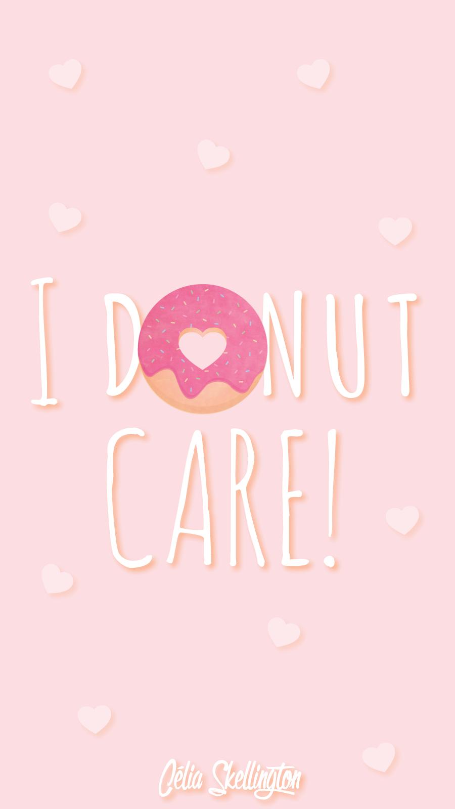 Pink Girl Pastel Donut Love iPhone Home Wallpaper @PanPins