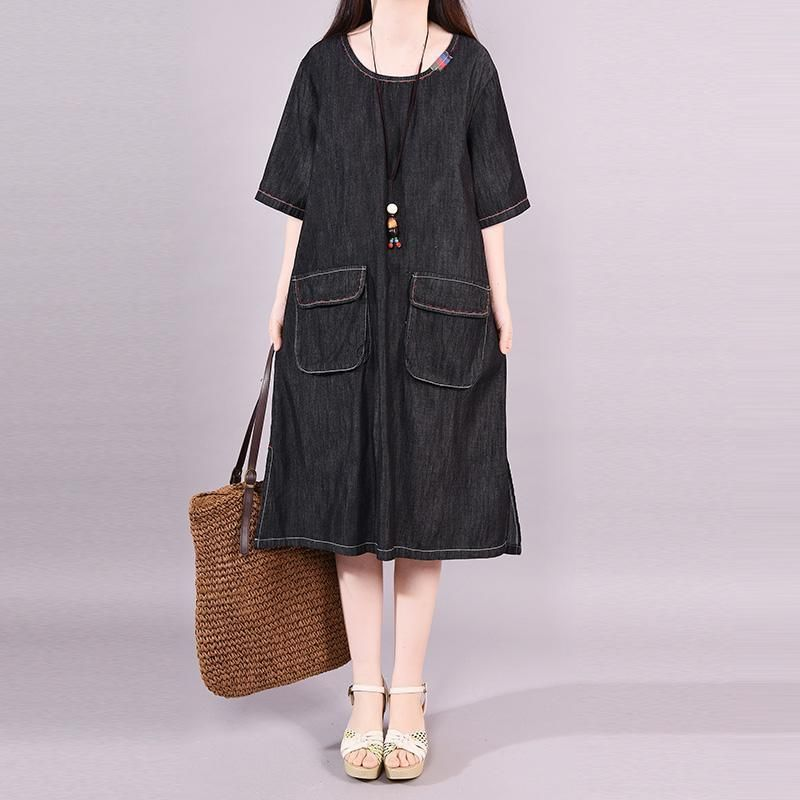 b306e14c85d5 Short Sleeve Casual Split Design Denim Dress in 2019 | Summer/Spring ...