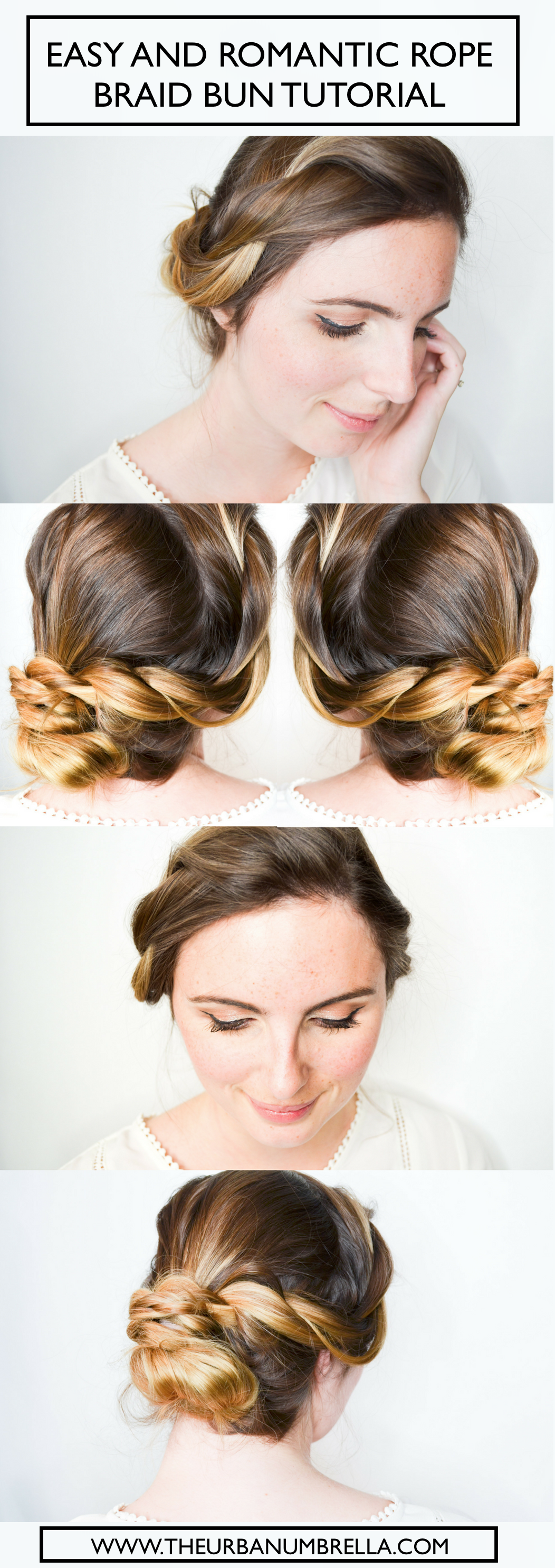 Easy and romantic rope braid bun tutorial braided bun tutorials
