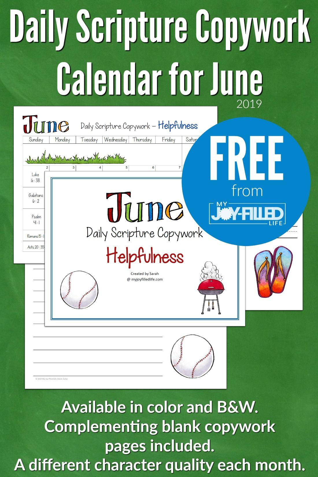 Daily Scripture Copywork Calendar For June
