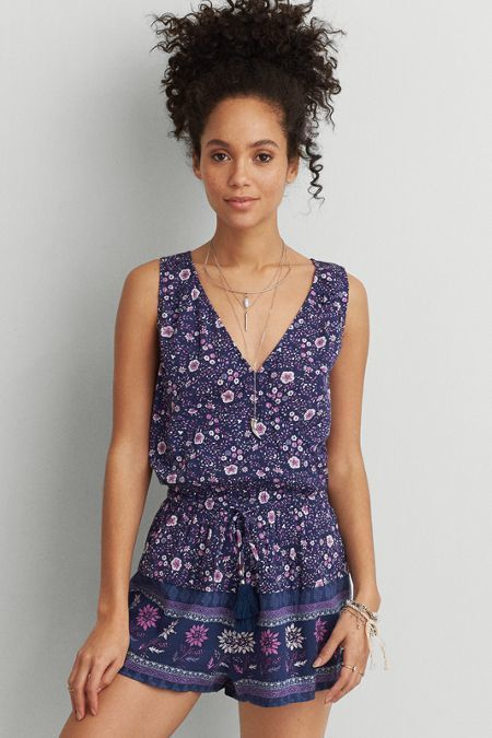 dde319752cd0 American Eagle Outfitters AEO Pattern Sleeveless Wrap Romper (Jumper ...