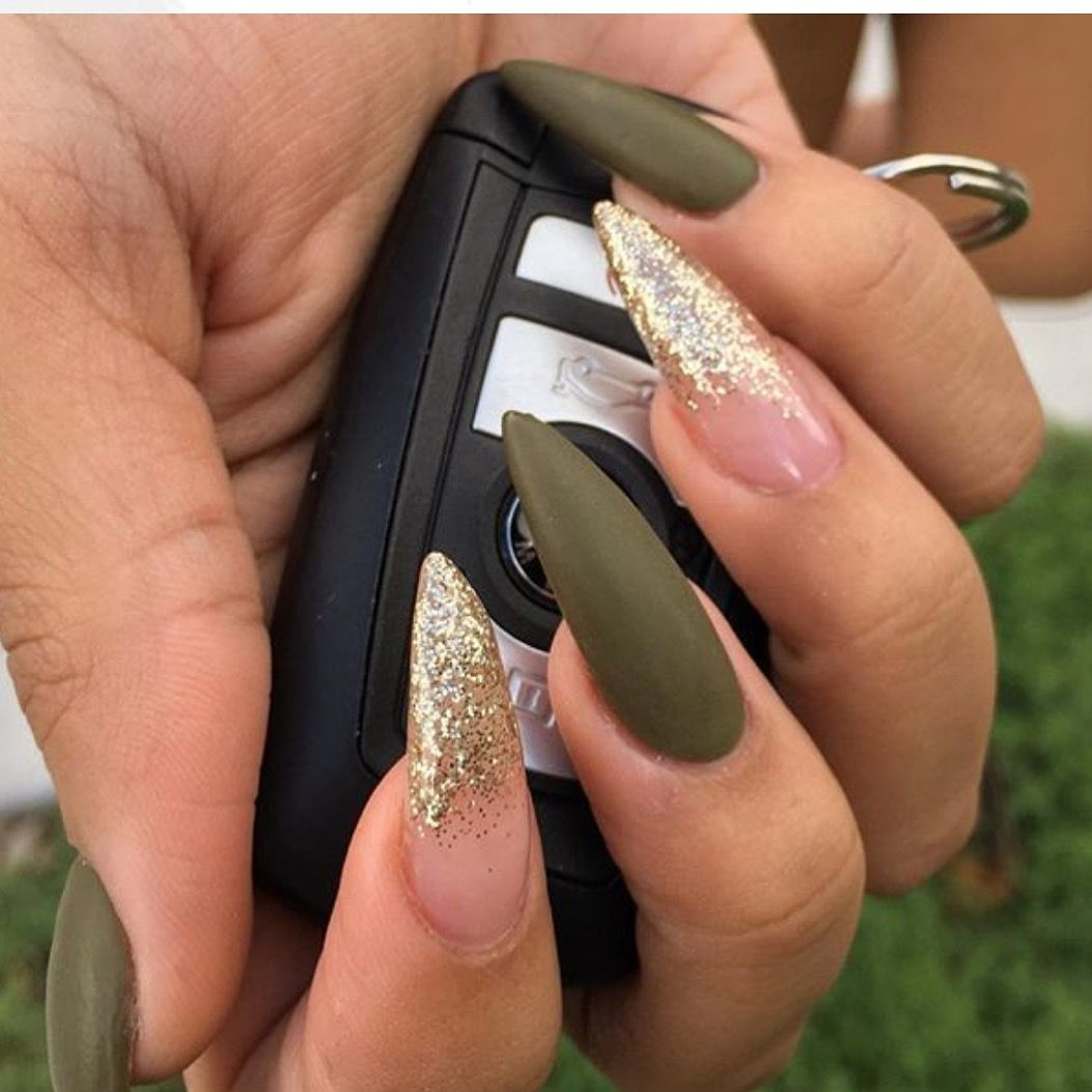 Olive Green And Gold Stiletto Nails
