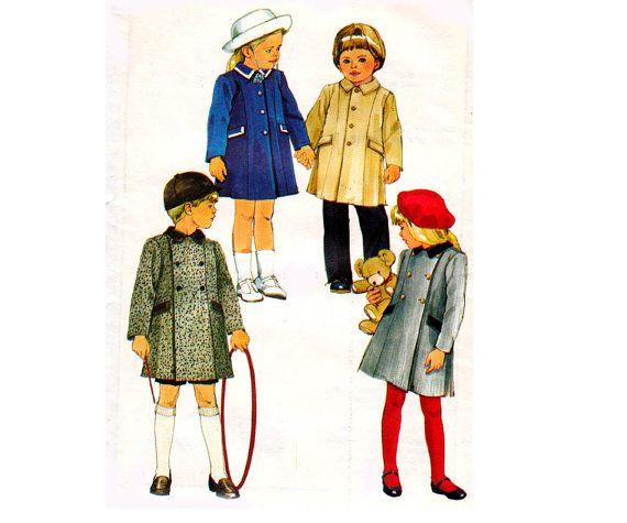 80s Kids Coat Pattern Simplicity 6661 Vintage Sewing Pattern Size 6 ...