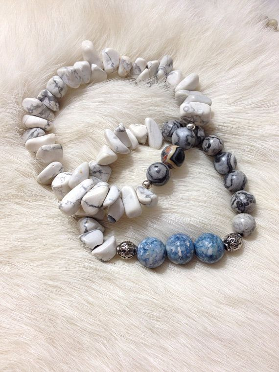 Gray jasper with blue beads  on Etsy, $15.00