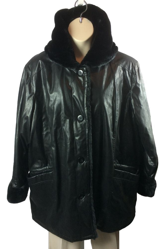 a6b3a496adc Womens Maggie Barnes Black Faux Leather Faux Fur Coat Plus Size 3X Button  Front  MaggieBarnes  BasicCoat  Any