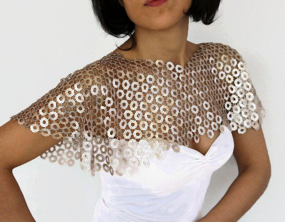 bridal cover up Blush sequin cape