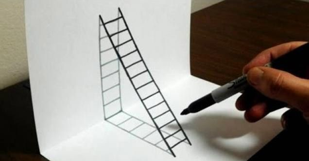 Guy Shows You How To Draw A 3d Ladder On Paper Illusion Drawings Optical Illusion Drawing 3d Drawings