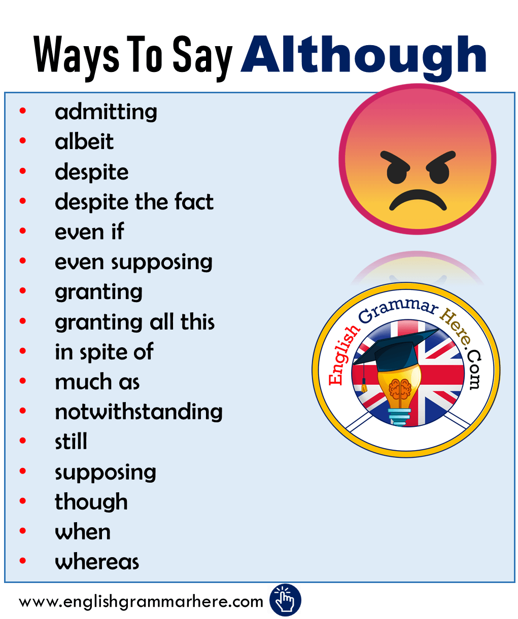 Ways To Say Although - Synonym Words Although - English Grammar Here