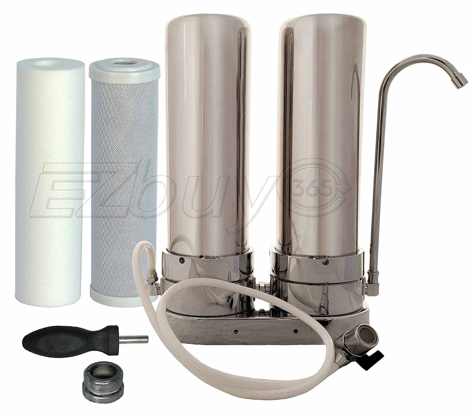 Dual Countertop Water Filter System Stainless Steel With Carbon