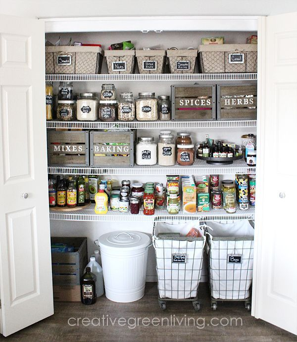 I LOVE this modern farmhouse style pantry makeover with rustic elements. So many...