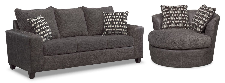 Brando Queen Memory Foam Sleeper Sofa And Swivel Chair Set Smoke