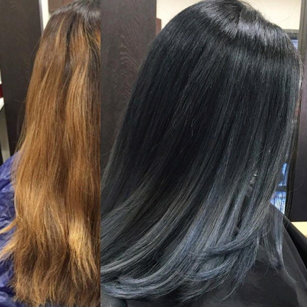black, with dark blue/grey ends brings back the shine in your hair ...