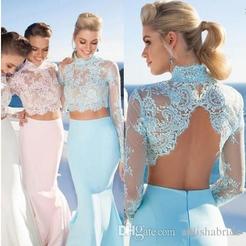 Großhandel 2015 Tarik Ediz Two Pieces Abendkleider High Neck Lace ...
