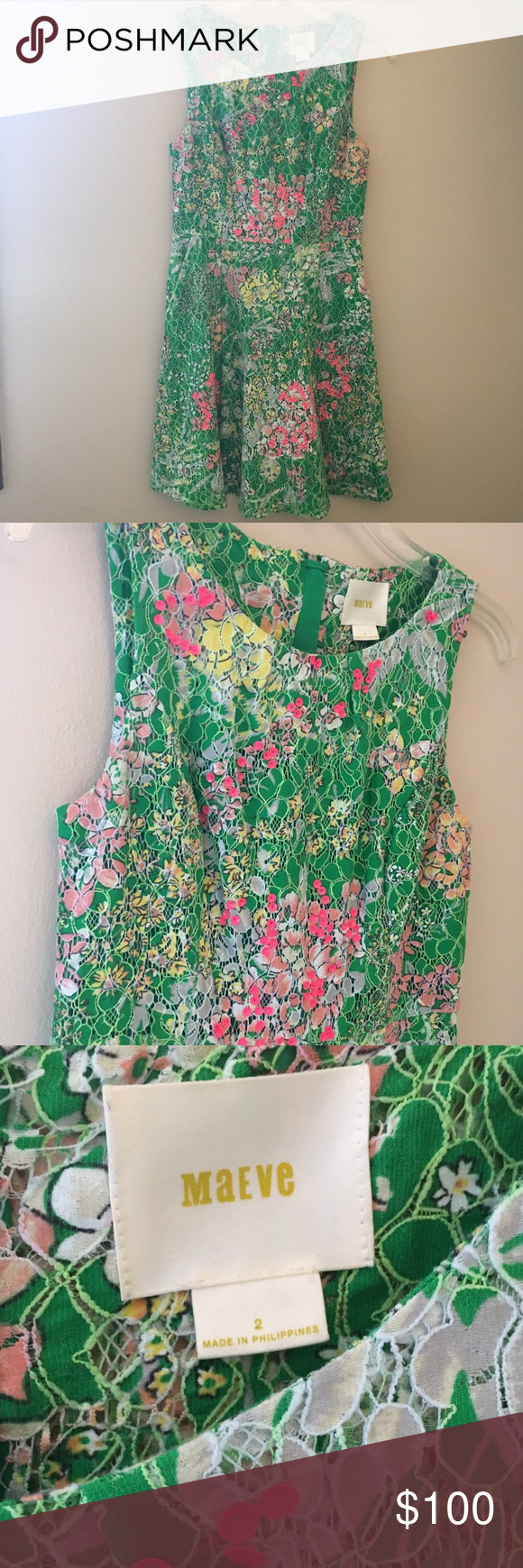 Green dress with lace overlay  Anthro Maeve Laced Verbena Sequin Floral Dress  My Posh Picks