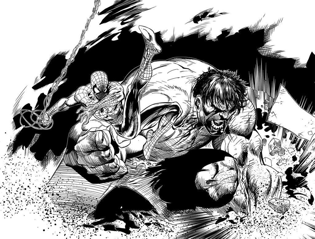 Hulk Vs Spidey Ink By Royhobbitz On Deviantart Ink Art Lion Sculpture