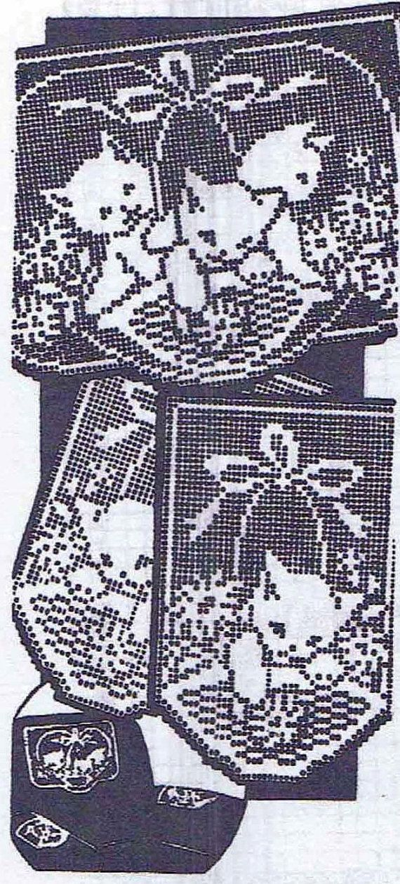 Vtg Crochet PATTERN 2125 Chair set Filet Crochet Basket of Kittens ...