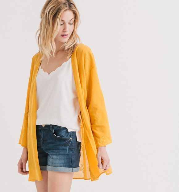 b62f5af62eecc Veste jean jaune – Modèles coûteux de vestes
