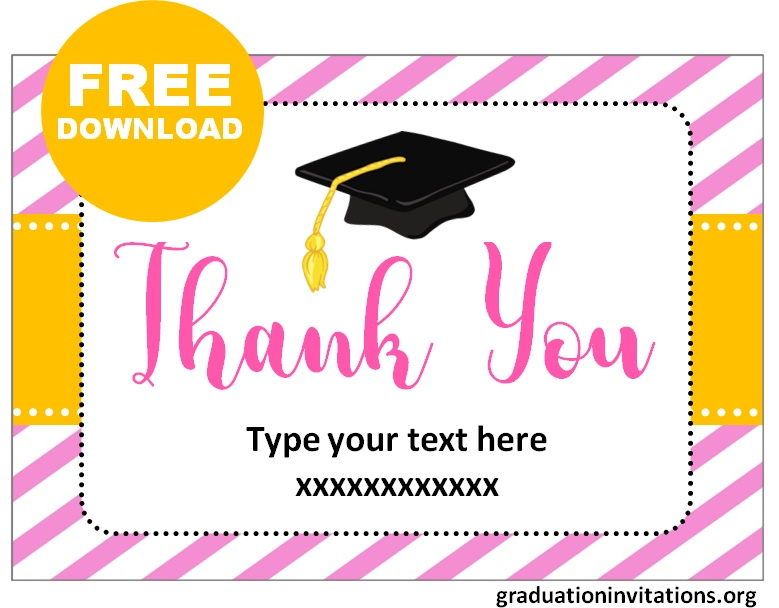 Free Printable Graduation Thank You Cards Templates Graduation Invitations In 2021 Graduation Thank You Cards Thank You Card Template Thank You Cards