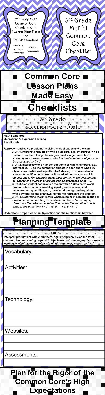 3rd Grade Math Common Core Checklist - Lesson Planning Form - Purple ...