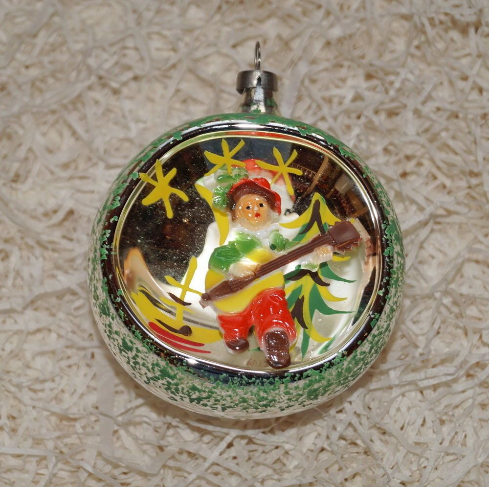 Details about Antique Blown Glass Diorama Christmas Ornament