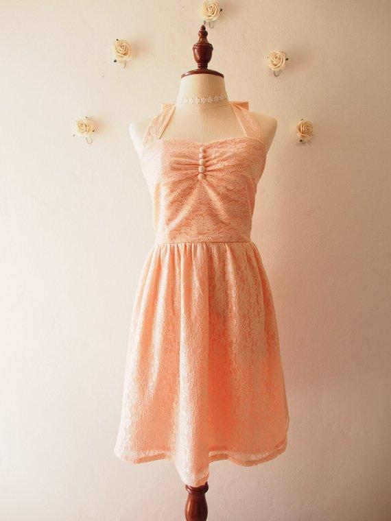 Lace Dress Old Rose Pink Peach Lace Bridesmaid Dress Vintage