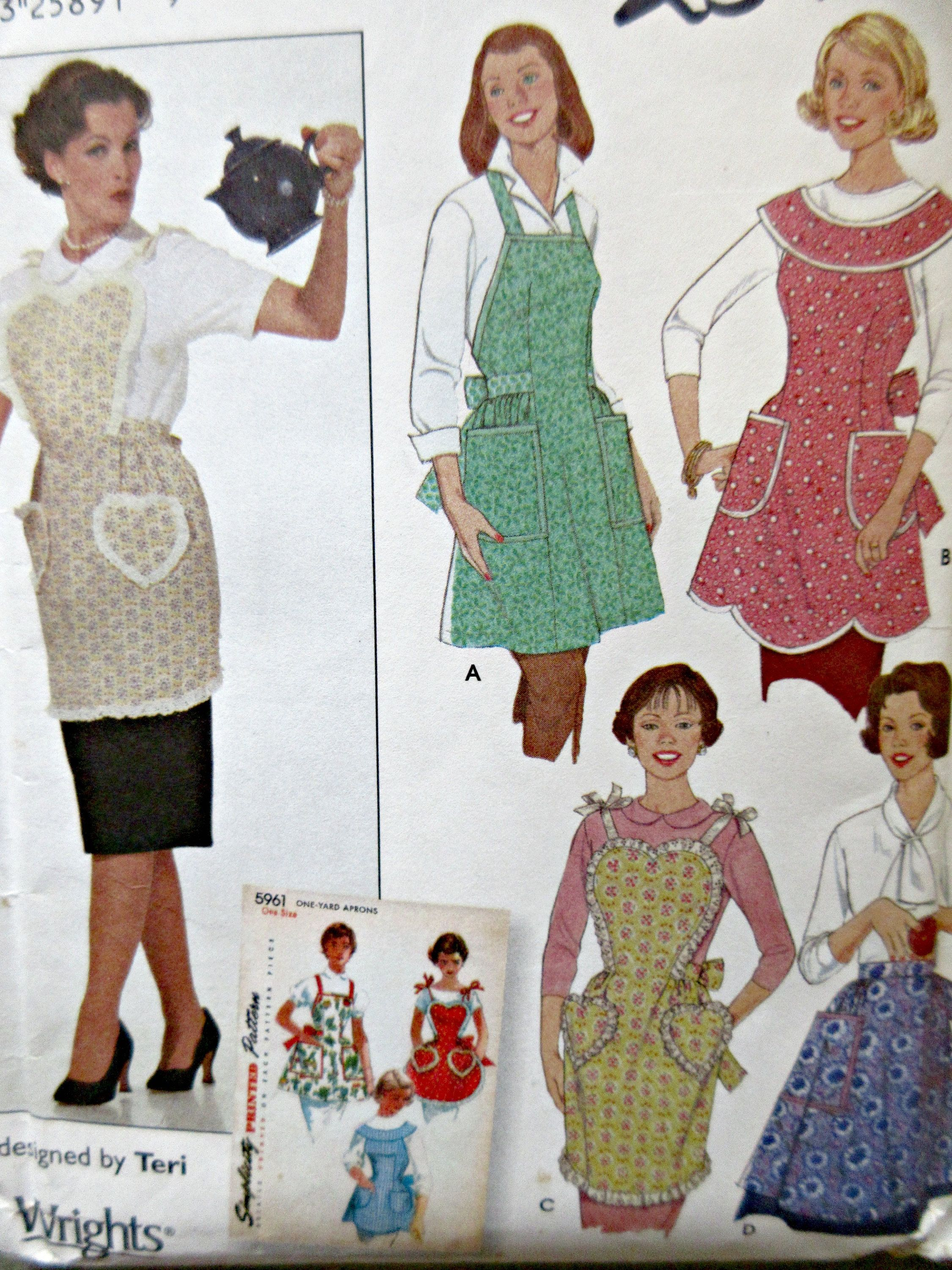 Simplicity 5961 Sewing Pattern, Apron Pattern, Vintage Style Aprons ...