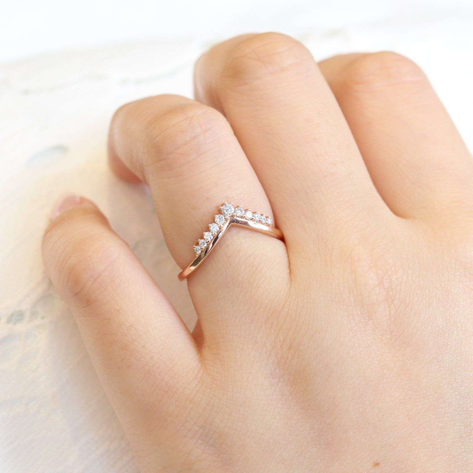 Tiara Diamond Ring In Rose Gold Curved Plain Band Diamond