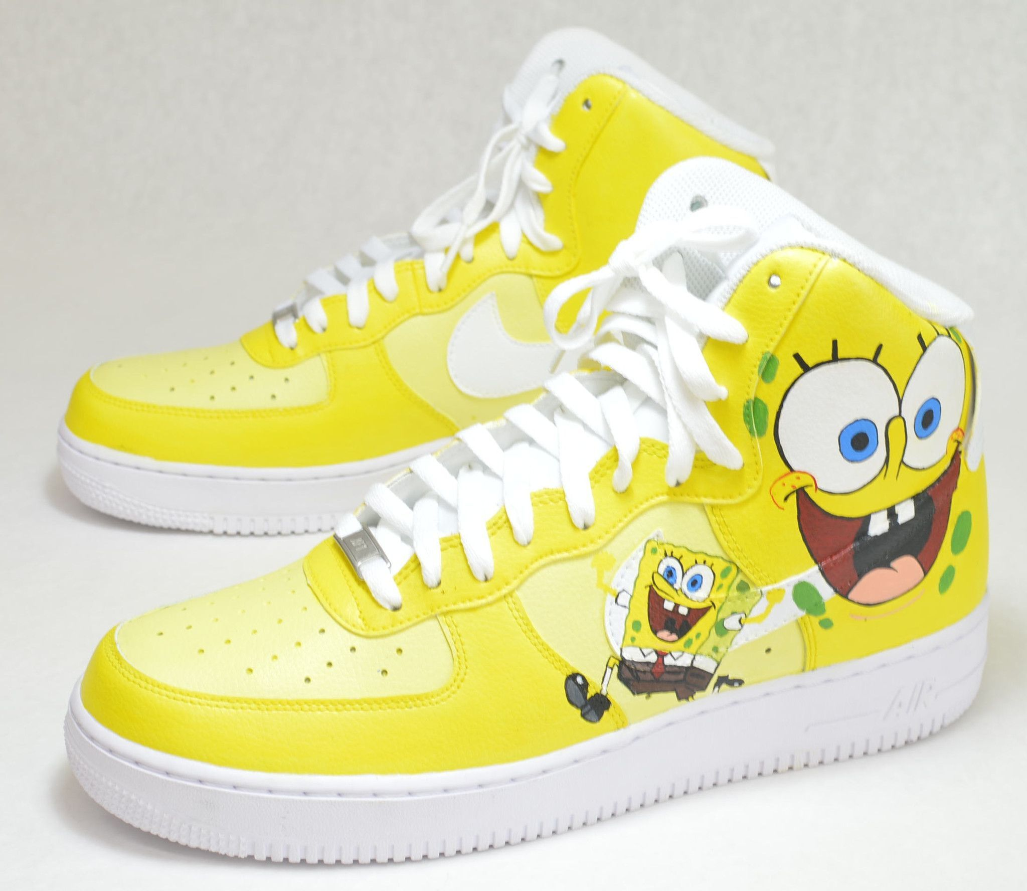 save off f083a 3a96b Spongebob SquarePants Nike AF1 High - Custom Painted Sneakers