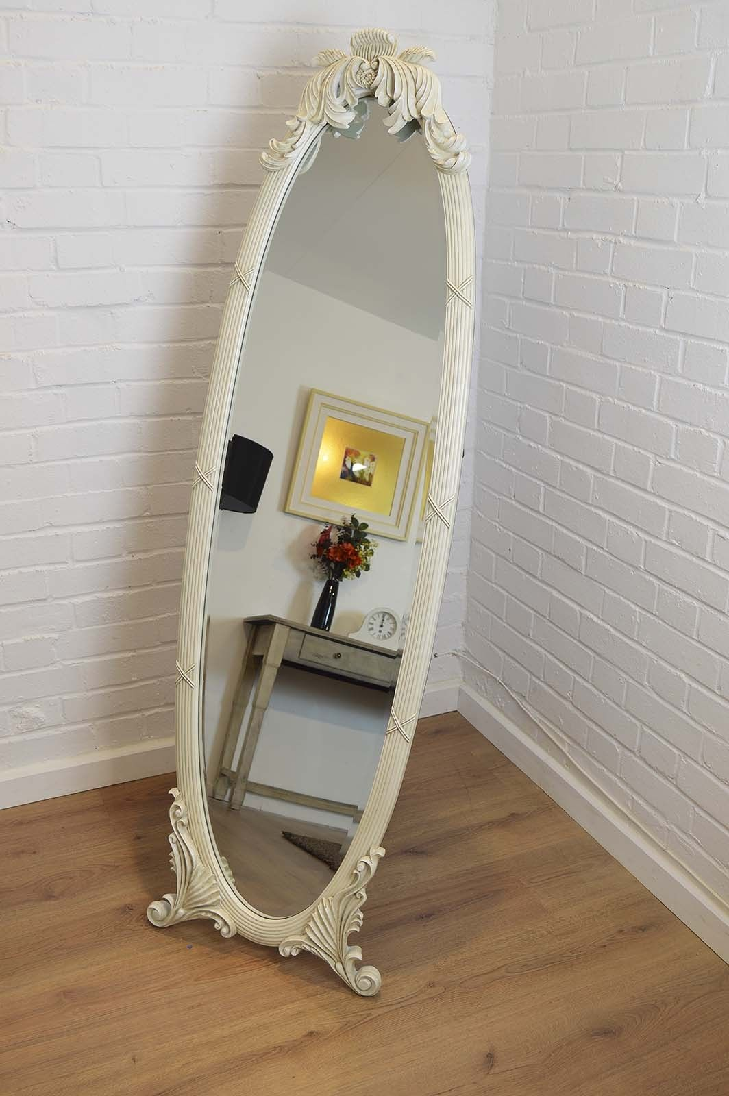 Large Antique Ornate Cream Oval Cheval Mirror 5ft5 x 1ft7 | Decor ...