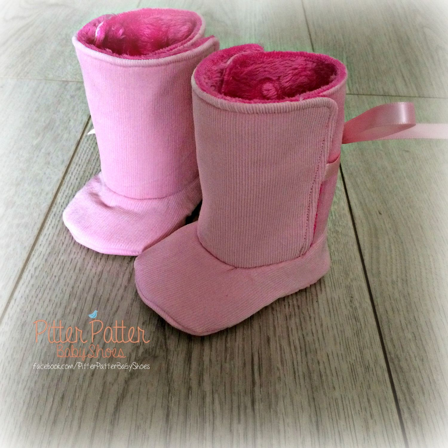 Corduroy and Cuddle Pink Baby Boots w FREE Paci Clip Go Pink Baby