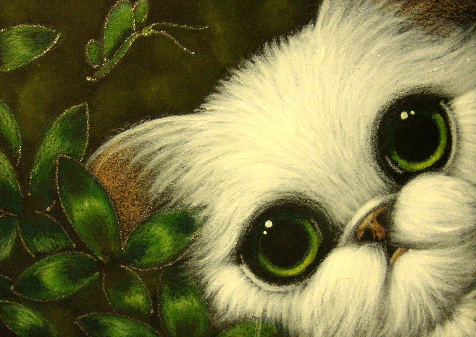 White Persian Cat with Green Flowers & Butterfly ACEO - #persian - More Cat Breeds at Catsincare.com!