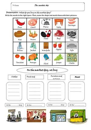 Market Day Home Learning Worksheets Shopping