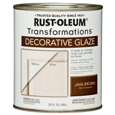 rust-oleum transformations 1-qt. java brown cabinet decorative glaze